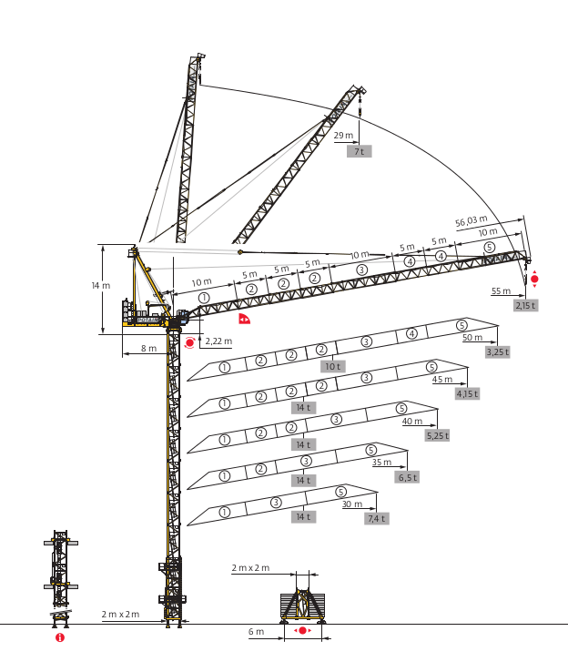 Tower Crane Self Assembly : Potain mr tower cranes crane rental south africa